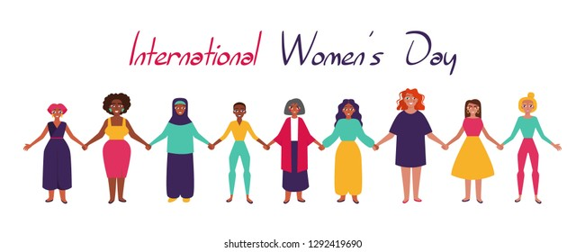 International Women's Day.  Card, poster or banner with devierse group of women holding hands. Flat style vector illustration