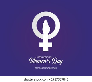 International women's day concept poster. Woman sign illustration background. 2021 women's day campaign theme- Choose To Challenge.