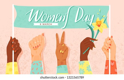 International Women's Day concept. Woman hands showing feminism symbol and their power. Girl's hand holding a flag with congratulations and flowers. Vector illustration.