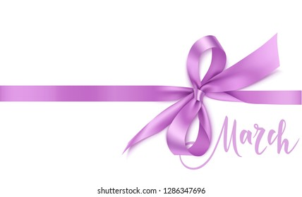 International Womens Day design template. 8 march background with beautiful purple bow and horizontal ribbon. Holiday decoration. Vector illustration
