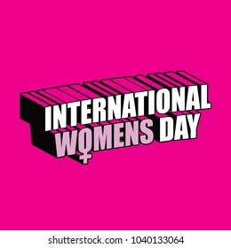 International Womens Day dimensional text design. EPS10 vector illustration.