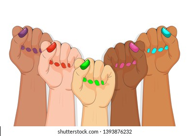 International women's day diversity. Symbol unity or solidarity, with oppressed people and women's rights.