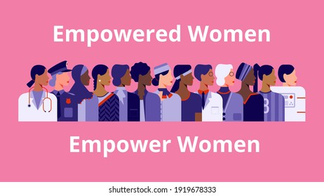 International Women's Day. Empowered women empower women. Women of diverse age, races and occupation. Vector horizontal banner.