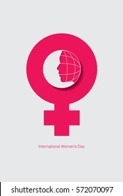 International women's day with female face and globe outline. Vector illustration