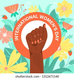 International Women's Day, feminism, girl power concept. Feminism symbol. Fighting afro-american fist of a woman with flowers and leaves. Fight for the rights and equality. Vector illustration.