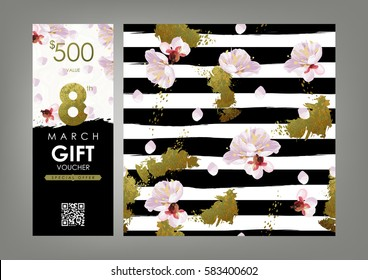 International Women's Day Gift certificate, Voucher, Coupon template and spring pattern set. Shabby gold, black and white stripes, blossom plum and marble texture. 8-th of March decoration concept.
