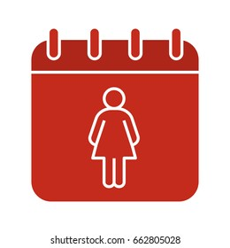 International Women's Day glyph color icon. Calendar page with woman. Silhouette symbol on white background. Menstrual period calendar. Negative space. Vector illustration