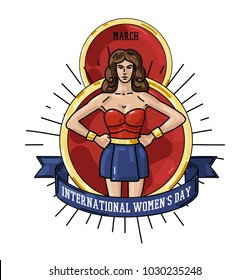 International Women's Day greeting card with big 8 March date and strong woman warrior, logo