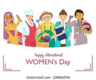 International women's day greeting card. Vector illustration of women of different races and professions.