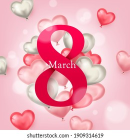 international women's day greeting card design with love sign element illustration