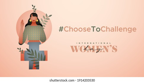 International Women's Day greeting card illustration. Choose to challenge campaign design for female rights event. Beautiful young woman with tropical leaf nature decoration.