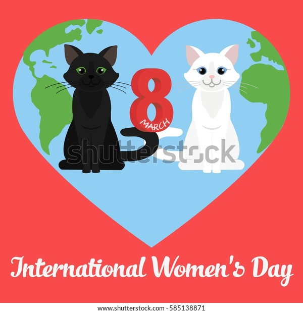 International Womens Day Greeting Card Cute Stock Vector Royalty Free 585138871