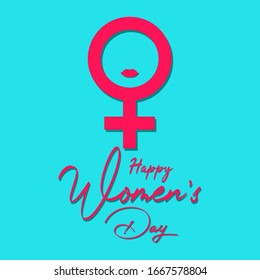 International Women's Day greeting card,8 March.With the concept of a woman's sign on aqua background