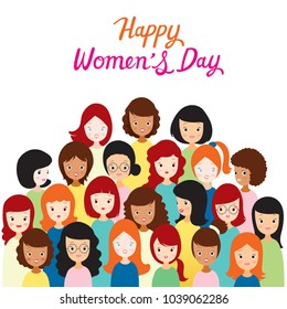 International Women's Day, Group Of Women With Various Nations And Skin, Female, Heroine, People, Feminism