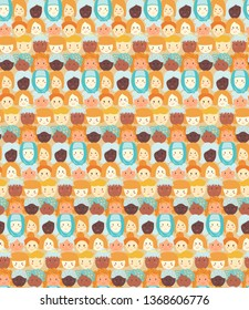 International Women's Day. hand-drawn vector seamless pattern with women faces. - Vector illustration