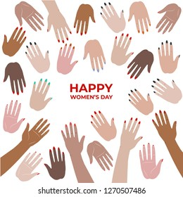 International women's day. Happy women's day. Greeting card design with cute hands. Hands pattern for poster, banner. Hand vector illustration.
