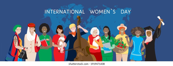 International Women`s Day holiday vector banner. Diverse multiethnic group, young and elderly women, african, asian, muslim female different professionals, happy mom, support, empowerment, sisterhood
