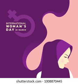 international women's day with islam lady wear hijab and woman sign banner vector design