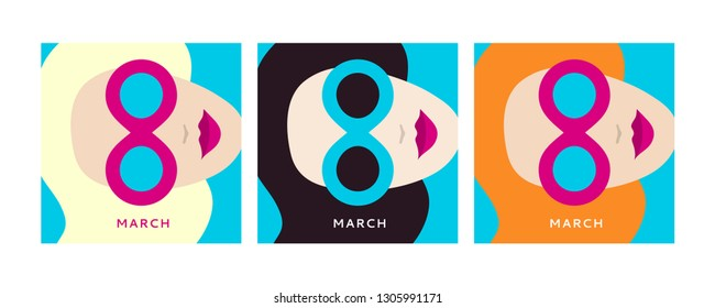 International women's day (IWD) March 8 - women's rights Day and femininity day. Greeting card, banner in the style of flat design. Women in sunglasses of different nationalities. Vector illustration