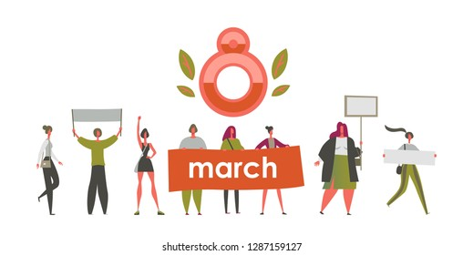 International Women's Day March 8 Feminism Fight for women's rights Festive banner with emancipated women of different ages with posters in their hands Vector illustration isolated on white background