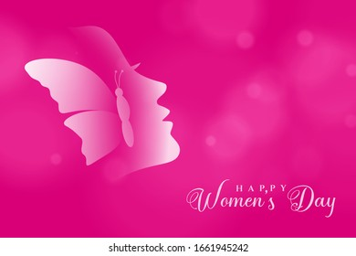 International Women's Day March 8th vector illustration blur pink background.