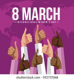 International Womens Day multicultural thumbs up design. In celebration of March 8 holiday. EPS 10 vector.