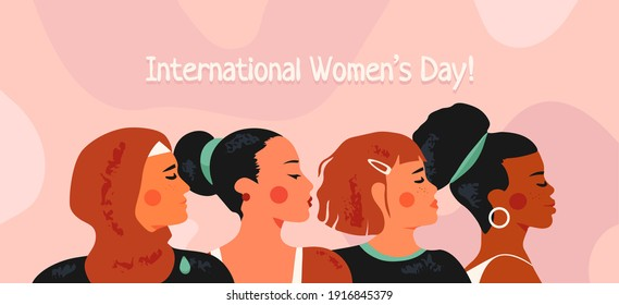 International Women's Day on 8 march. Multicultural and multiethnic women. Female diverse faces. Feminism and equal rights. Sisterhood and friendship concept. Trendy modern vector illustration.
