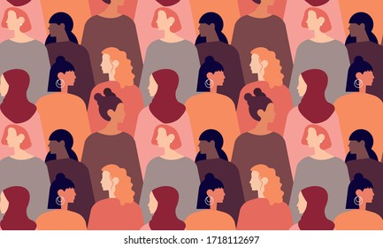 International Womens Day. Pattern women different nationalities and cultures illustration. Struggle for freedom, independence, equality