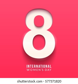 International women's day poster. 8 number 3d illustration. Happy Mother's Day. Eps10 vector illustration with place for your text.