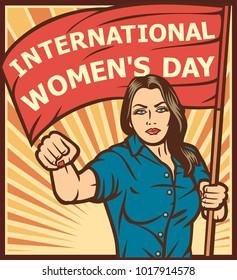 International Women's Day poster in pop art style