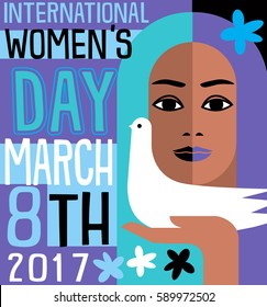 International Women's Day retro vector design for banners, cards, posters
