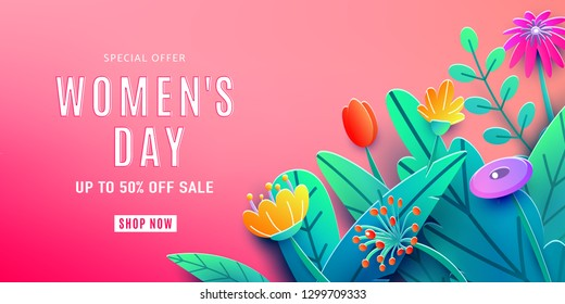 International Womens Day sale background with fantasy paper cut flowers, leaves, font greeting text. Discount offer 50 percent off. Corner composition, origami design. Vector illustration.
