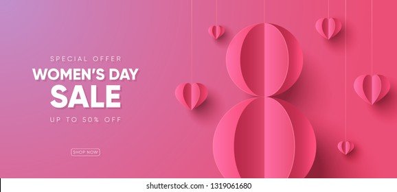 International women's day sale banner. Happy Mother's Day sale. Eps10 vector illustration with place for your text.