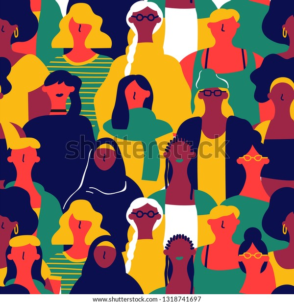 International Womens Day seamless pattern of diverse women faces. Colorful girl group background for equal rights march, feminist protest event or diversity concept.
