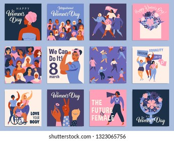International Women's Day set. Vector templates for card, poster, flyer and other users.