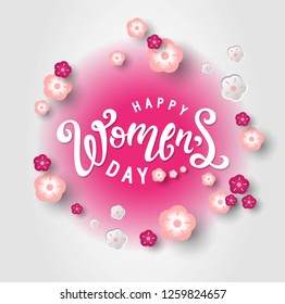 International Women's Day sign, emblem, logo on flowers background. Lettering Happy Womens day with flowers, tulips. Design for card, poster, flyer or social network.