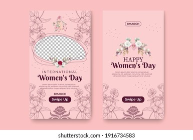 International women's day social stories collection, Happy Women's Day, Social media post templates for international women's day