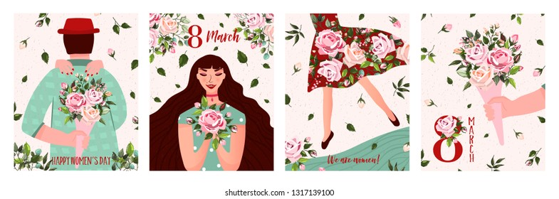 International Women's Day. Spring holiday Happy Women's day 8 march. Set of cute greeting card, poster with woman, man and bouquet of flowers roses. Vector illustration template