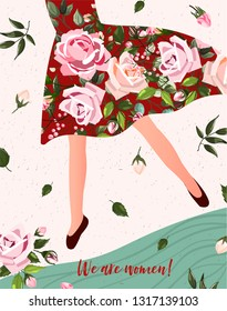 International Women's Day. Spring holiday Happy Women's day 8 march. Cute card, poster with woman in floral dress with bouquet of flowers roses. Vector illustration template