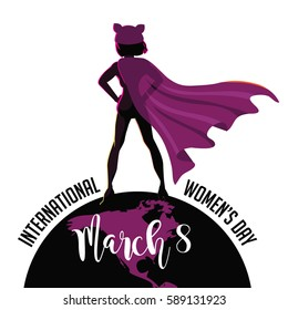 International Womens Day super hero design. In celebration of March 8 holiday. EPS 10 vector.