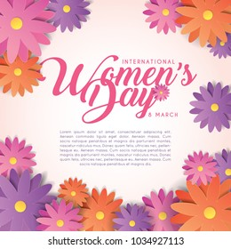 International Women's Day template design or copy sapce. 8 march vector illustration.