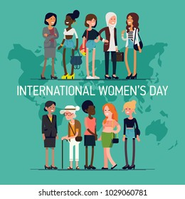 International Women's Day vector concept with diverse group of women of different age, race and outfits. Girl Power, community and equality