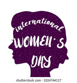 International Women's Day vector design for banners, cards, posters. Female face silhouette. Female illustration with text International women's day.