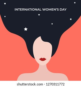 International Women's Day. Vector greeting design for card, flyer, poster, banner, invitation. Beautiful woman illustration