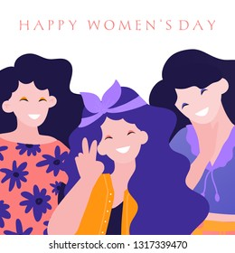 International Women's Day. Vector greeting card with three cute woman. Vector illustration