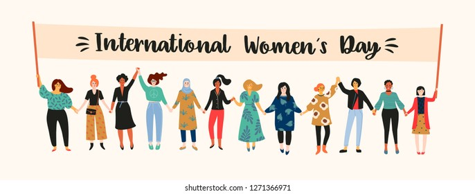International Womens Day. Vector illustration with women different nationalities and cultures. Struggle for freedom, independence, equality.