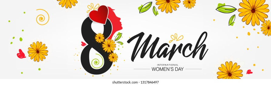 International women's day vector illustration with text of 8 march engraved on colorful texture best for banner, wallpaper, poster , header.