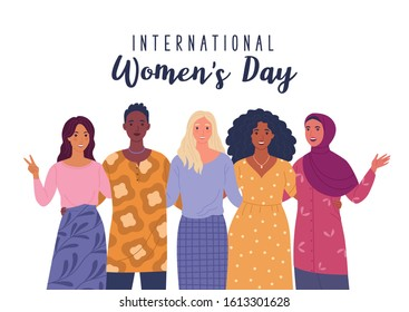 International Women's Day. Vector illustration of five happy smiling diverse women standing together. Isolated on white