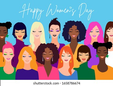 International Women's Day. Vector illustration of women diverse faces of different ethnicity in flat art style.