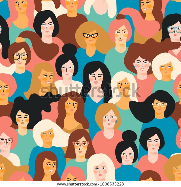 International Women's Day. Vector seamless pattern with women faces.